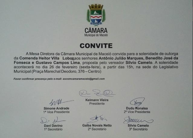 Convite Comenda Heitor Villa Lobos